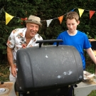New resident Bryan Coulson gets into the spirit of the barbecue summer, with Monty Dunne.