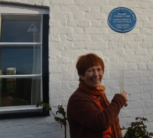 Lady Val Corbett celebrates the unveiling of her late husband's plaque