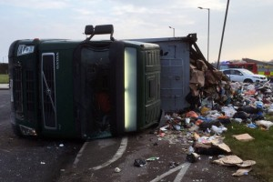 An HGV accident on the A4146 last year